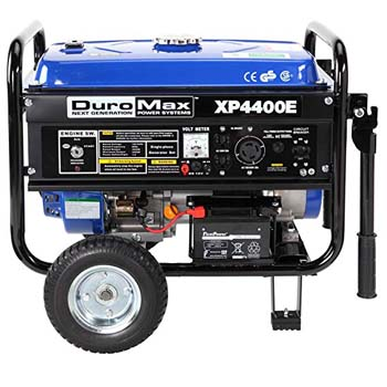 5. DuroMax XP4400E 4,400 Watt 7.0 HP OHV 4-Cycles Gas Powered Portable Generator with Wheel Kit and Electric Start