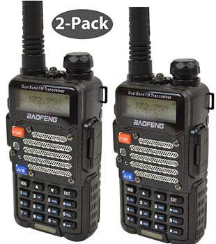 7. Baofeng 2-Pack Black BF-F9 V2+ HP 8Watt Tri-Power Two-way Radio Transceiver