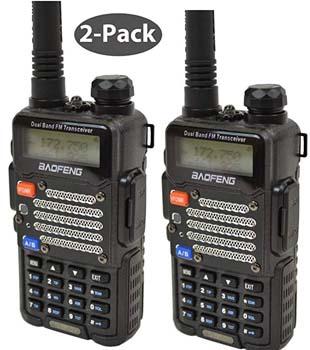 7. Baofeng 2-Pack Black BF-F9 V2+ HP 8Watt Tri-Power Two-way Radio Transceiver