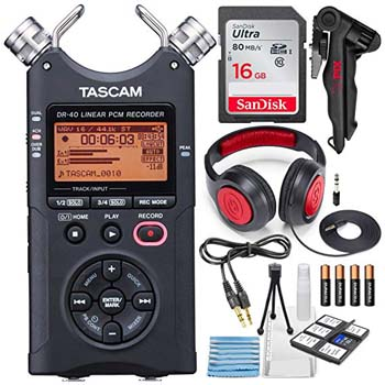 9. Tascam DR-40 4-Track Handheld Digital Audio Recorder with Deluxe Accessory Bundle and Cleaning Kit