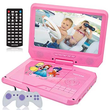 8. WONNIE 9.5 INCH PINK DVD PLAYER