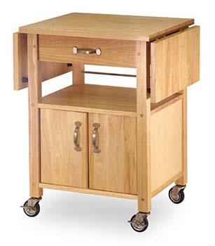 1. Winsome Wood Drop-Leaf Kitchen Cart