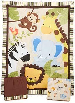 4. Bedtime Originals Jungle Buddies 3 Piece Crib – brown/yellow