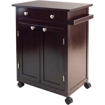 10. Small Dark Espresso Kitchen Cart