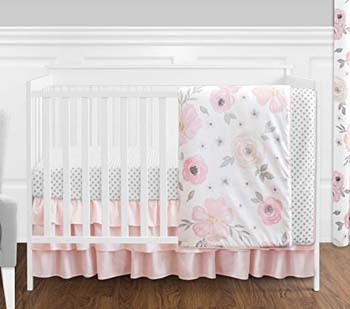2. Sweet Jojo 4 Pc Blush Pink, Grey and White Watercolor Floral Baby Girl Crib