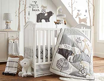 9. Levtex Baby Bailey Charcoal and White Woodland Themed 5