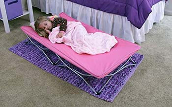 1. Regalo My Cot Portable Toddler Bed with Fitted Sheet