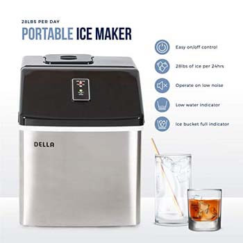 4. DELLA Portable Stainless Steel Ice Maker