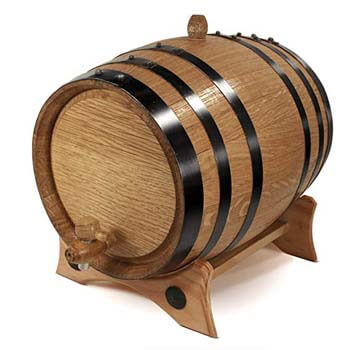 4. 2-Liter Whiskey Oak Barrel for Aging-Golden Oak Barrel with Black Steel Hoops.