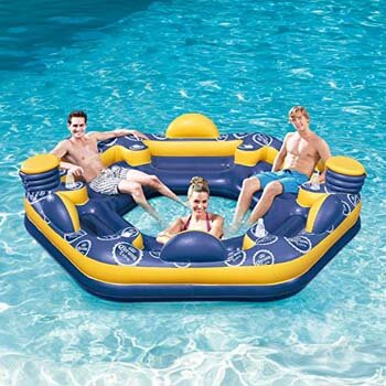 9. SUMMER WAVES Corona 6-Person Giant Inflatable Island Raft with Built-In Coolers & Cup Holders