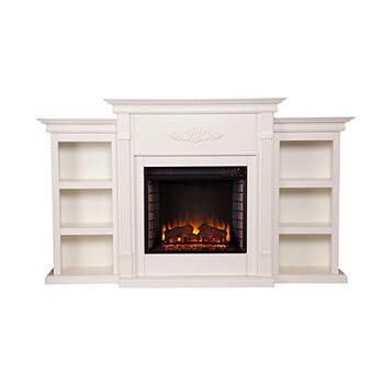 1. Southern Enterprises Tennyson Electric Fireplace with Bookcase