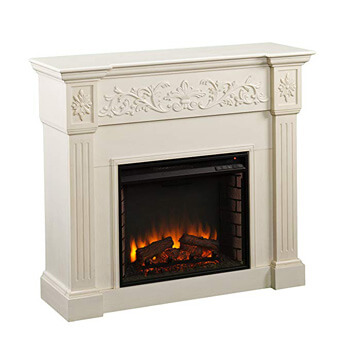 6. Southern Enterprises Calvert Carved Electric Fireplace