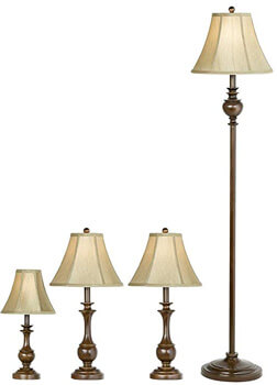8. Barnes and Ivy Traditional Font Table and Floor Lamps Set of 4.