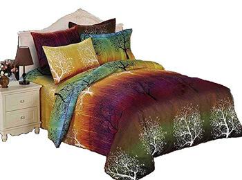 8. Swanson Beddings Rainbow Tree 3pc Duvet Bedding Set: Duvet Cover and Two Pillowcases