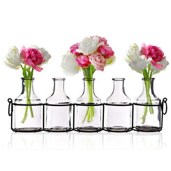 9. Small Bud Glass Vases in Black Metal Rack Stand