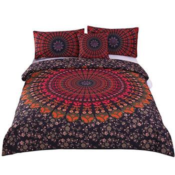 3. Sleepwish 4 Pcs Mandala Hippie Concealed Bedspread Bohemian Bedding Duvet Cover