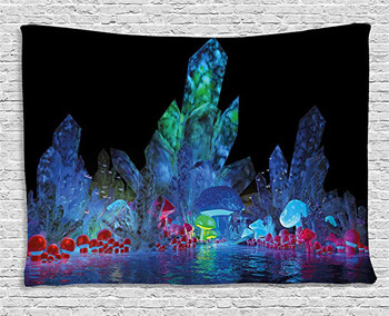 6. Ambesonne Psychedelic Tapestry, Magic Crystals Background Effects