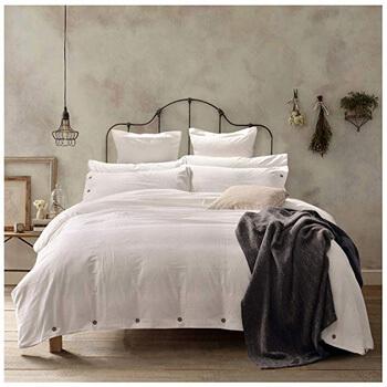 1. Doffapd Duvet Cover Queen, Washed Cotton Duvet Cover Set
