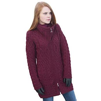 7. 100% Irish Merino Wool Double Collar Aran Knit Coat by West End Knitwear