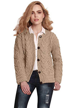 9. Carraig Donn Ladies Irish Merino Wool Cardigan