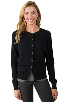 1. JENNIE LIU Women's 100% Cashmere Button Cardigan Sweater