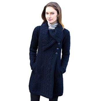 2. 100% Merino Wool Aran Crafts Ladies 3 Button Long Cardigan Sweater