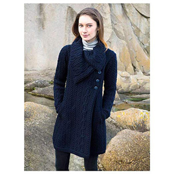8. 100% Merino Wool Aran Crafts Ladies 3 Button Long Cardigan Navy