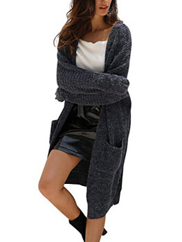 3. Simplee Women's Casual Open Front Long Sleeve Knit Cardigan Sweater