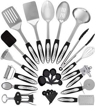 2. Stainless Steel Kitchen Utensil Set - 25 Cooking Utensils