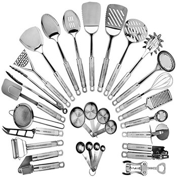 3. Stainless Steel Kitchen Utensil Set - 29 Cooking Utensils
