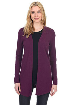 6. State Fusio Women's Wool Cashmere Soft Shaker-Stitch Open Cardigan