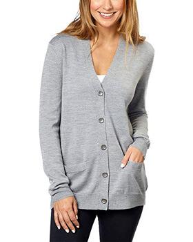 1. Kirkland Signature Women 100% Extra Fine Merino Wool Cardigan