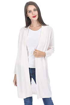 9. State Cashmere Women's 100% Cashmere Soft Open Front Long Cardigan