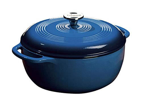 2. Lodge 6 Quart Enameled Cast Iron Dutch Oven
