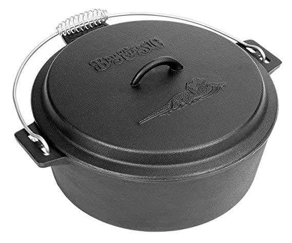 7. Bayou Classic 7410 Cast Iron Chicken Fryer with Dutch Oven Lid