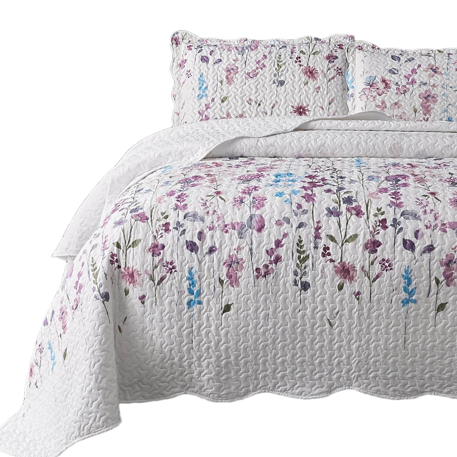 5. Bedsure Printed Quilt Coverlet Set Twin