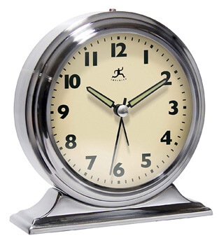 6. Infinity Instruments Brushed Nickel Metal Alarm Clock
