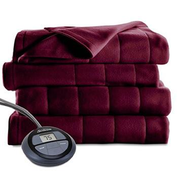 5. Sunbeam heated blanket microplush garnet