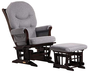 9. Dutailier Sleigh Glider-Multi-Position Recline and Nursing Ottoman Combo
