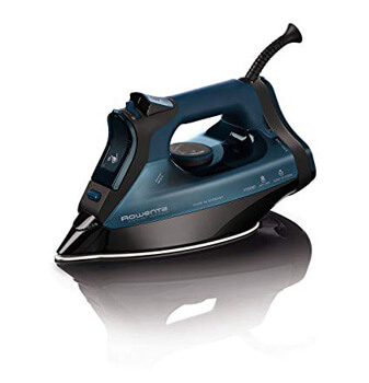 7. Rowenta Everlast 1750-Watt Stainless Steel Soleplate with Auto-Off, 400-Hole Anti-Calc Steam Iron Blue