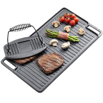 5. VonShef Black Pre-Seasoned Cast Iron Reversible Griddle