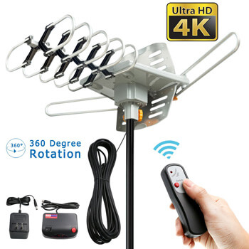 2. Vansky Outdoor 150 Mile Motorized 360 Degree Rotation OTA Amplified HD TV Antenna.