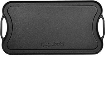 7. AmazonBasics Pre-Seasoned Cast Iron Reversible Grill