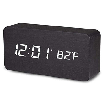 2. MiToo Digital Alarm Clock, Temperature Date LED Display Wood Grain Clock 3 Levels Brightness Voice Control