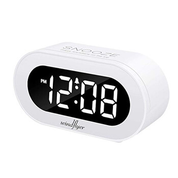 3. Windflyer Small LED Digital Alarm Clock with Snooze