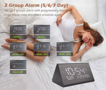 10. Warmhoming Wooden Digital Alarm Clock with 7 Levels Adjustable Brightness
