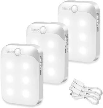 5. TOMSOO Rechargeable Motion Sensor Light
