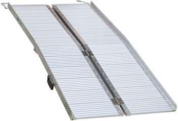 8: HOMCOM Portable Textured Aluminum Folding Wheelchair Threshold Ramp, 6'