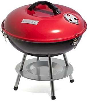 4. Cuisinart CCG-190RB Portable Charcoal Grill, 14-Inch, Red