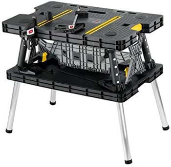 4. Keter Folding Table Work Bench for Miter Saw Stand, Woodworking Tools and Accessories